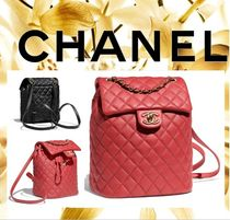 CHANEL Calfskin Chain Plain Purses Elegant Style Backpacks