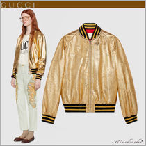 GUCCI Short Star Leather Souvenir Jackets