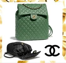 CHANEL Calfskin A4 Chain Plain Purses Elegant Style Backpacks
