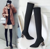 Plain Elegant Style Chunky Heels Over-the-Knee Boots