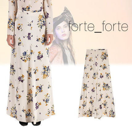 Flared Skirts Flower Patterns Silk Long Party Style