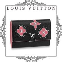 Louis Vuitton CAPUCINES Flower Patterns Studded Plain Leather Folding Wallets