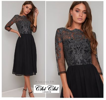 A-line Cropped Midi Lace Dresses