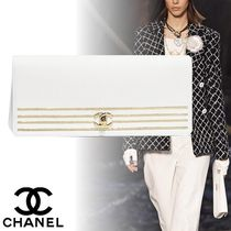 CHANEL Calfskin Plain Elegant Style Clutches