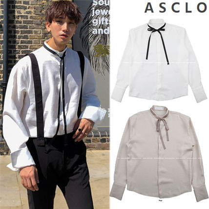 ASCLO Shirts Street Style Collaboration Long Sleeves Plain Shirts