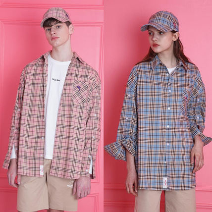 Other Check Patterns Unisex Long Sleeves Oversized Shirts