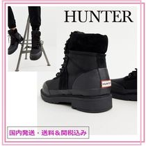 HUNTER Round Toe Rubber Sole Lace-up Casual Style Blended Fabrics