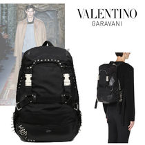 VALENTINO Nylon Studded Plain Backpacks