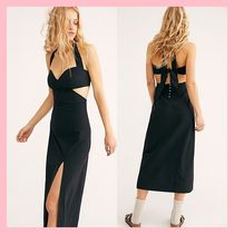 Free People Casual Style Tight Sleeveless Halter Neck Plain Cotton Long