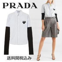 PRADA Stripes Casual Style Cotton Super-long Sleeves