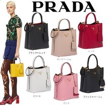 PRADA DOUBLE Saffiano 2WAY Plain Handbags