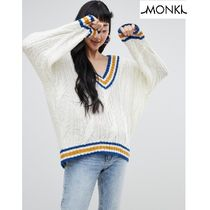 MONKI Cable Knit Casual Style V-Neck Long Sleeves Long Knitwear