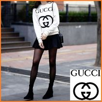 GUCCI Crew Neck Short Unisex Street Style Long Sleeves Cotton