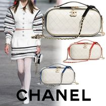 CHANEL Calfskin Vanity Bags 3WAY Bi-color Chain Elegant Style