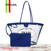 PRADA Casual Style Blended Fabrics Plain Crystal Clear Bags
