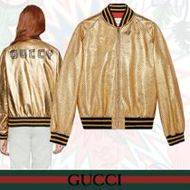 GUCCI Star Casual Style Leather Medium Bomber Jackets