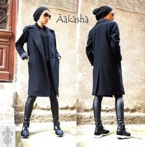 Aakasha Cashmere Blended Fabrics Plain Medium Handmade Chester Coats