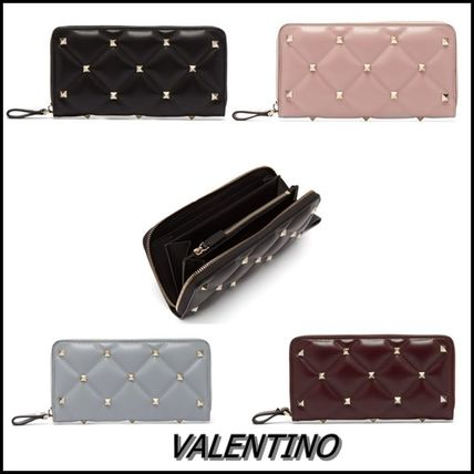 Studded Leather Long Wallets