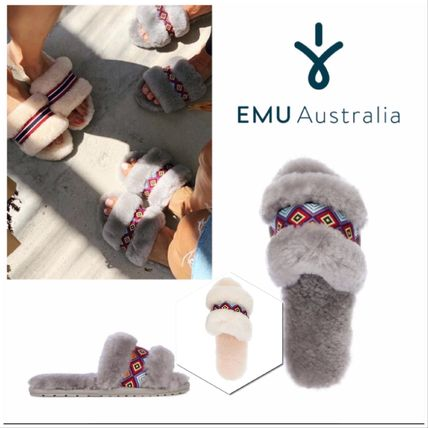 Casual Style Sheepskin Plain Tribal Slippers Slip-On Shoes