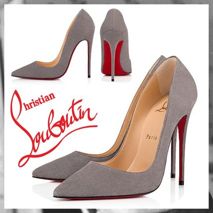 991613b0e905 ... Christian Louboutin Pointed Toe Suede Plain Pin Heels Elegant Style ...