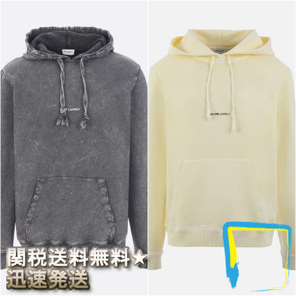 Saint Laurent Hoodies Pullovers Street Style Long Sleeves Plain Cotton Hoodies