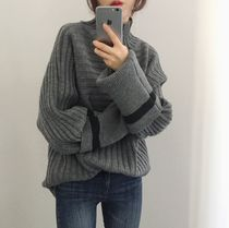 Cable Knit Casual Style Blended Fabrics Plain Knitwear