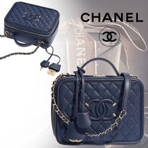 CHANEL Calfskin Blended Fabrics 3WAY Bi-color Chain Elegant Style