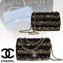 CHANEL Stripes Chain Elegant Style Handbags