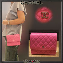 CHANEL CHAIN WALLET Calfskin 2WAY Chain Plain Elegant Style Shoulder Bags