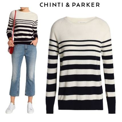 Crew Neck Stripes Casual Style Cashmere Long Sleeves Medium