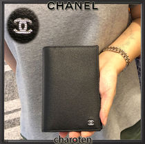 CHANEL ICON Unisex Calfskin Plain Wallets & Small Goods