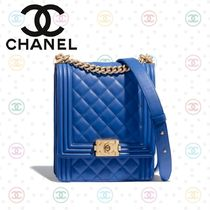 CHANEL BOY CHANEL Calfskin Blended Fabrics 2WAY Chain Plain Shoulder Bags