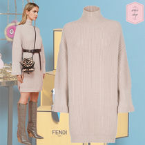 FENDI Casual Style Cashmere Plain Medium High-Neck Puff Sleeves