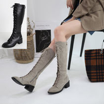 Round Toe Lace-up Casual Style Suede Plain Block Heels