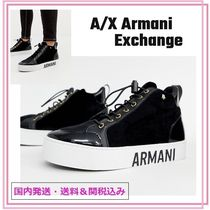 A/X Armani Exchange Round Toe Rubber Sole Lace-up Casual Style Velvet Plain