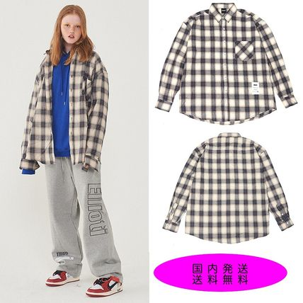 Other Check Patterns Casual Style Unisex Long Sleeves Cotton