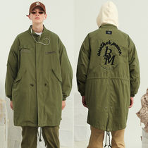 13MONTH Unisex Plain Long Oversized Khaki Parkas