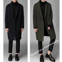Plain Long Khaki Chester Coats