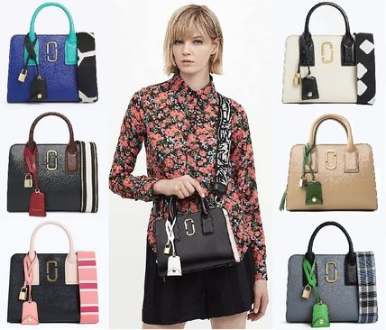 Casual Style Street Style 2WAY Bi-color Leather Handbags