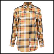 Burberry Crew Neck Tartan Casual Style Long Sleeves Cotton Medium