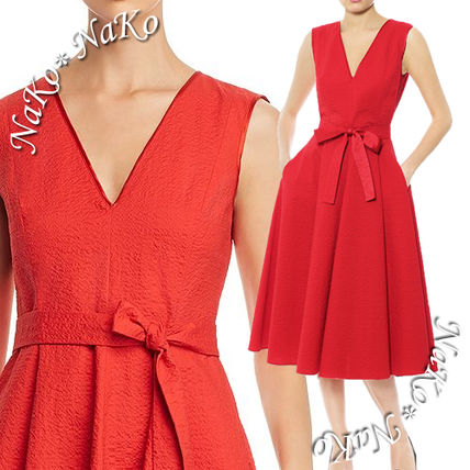 Sleeveless Flared V-Neck Plain Cotton Medium Midi Dresses