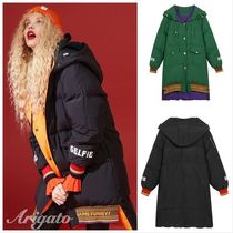 ELF SACK Street Style Bi-color Plain Long Down Jackets