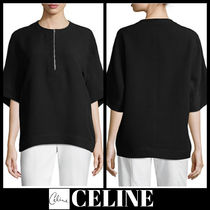 CELINE Plain Medium Short Sleeves Elegant Style Shirts & Blouses