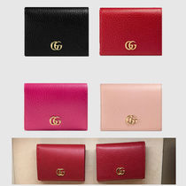 GUCCI GG Marmont Plain Leather Card Holders