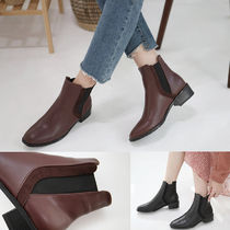 Round Toe Casual Style Faux Fur Plain Block Heels
