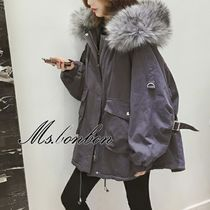 Short Casual Style Faux Fur Plain Parkas
