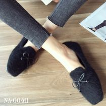 Other Check Patterns Square Toe Casual Style Faux Fur Plain
