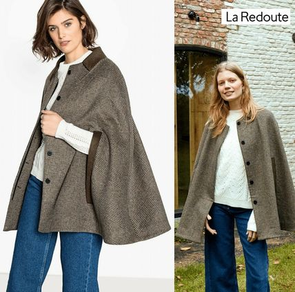 Other Check Patterns Wool Medium Ponchos & Capes