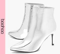 boohoo Casual Style Faux Fur Pin Heels Ankle & Booties Boots