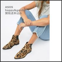 ASOS Leopard Patterns Casual Style Leather Ankle & Booties Boots